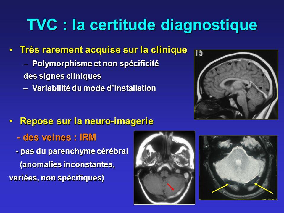 TVC : la certitude diagnostique Très rarement acquise sur la clinique Très rarement acquise sur la clinique –Polymorphisme et non spécificité des sign