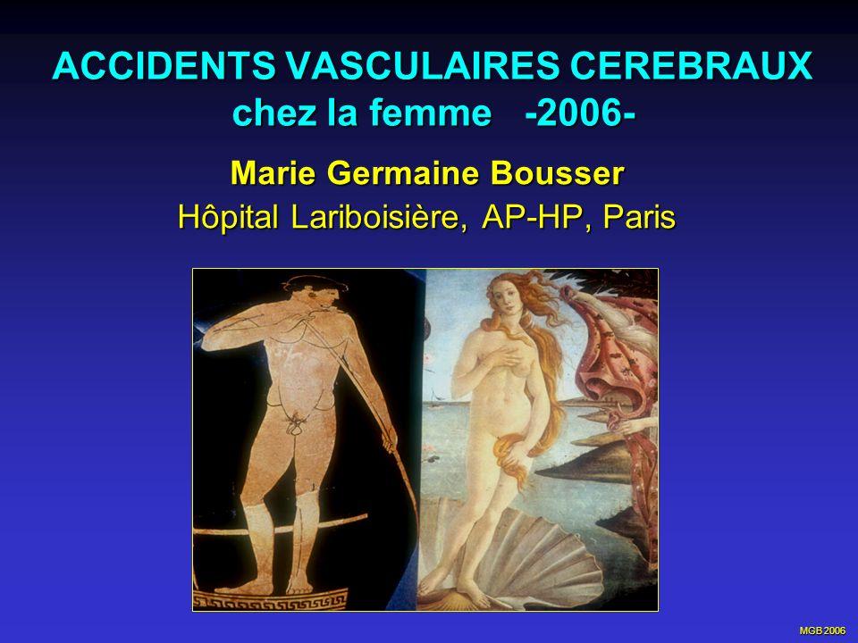 MGB 2006 Womens Estrogen for Stroke Trial (WEST) (NEJM 2001 : 345 : 1243) Etude randomisée, double aveugle, 21 centre US Etude randomisée, double aveugle, 21 centre US Estrogènes (1mg/j 17 estradiol) vs placebo Estrogènes (1mg/j 17 estradiol) vs placebo 664 femmes post ménopausées > 44 ans (m=71) 664 femmes post ménopausées > 44 ans (m=71) avec accident ischémique cérébral < 90 Jours avec accident ischémique cérébral < 90 Jours Suivi moyen de 2,8 ans: Suivi moyen de 2,8 ans: - pas de différence significative sur mort, AVC (E: 99 ; P: 93) et IDM (E:14; P:12) mort, AVC (E: 99 ; P: 93) et IDM (E:14; P:12) - augmentation des AVC mortels (RR 2,9) - augmentation significative des AVC pendant les - augmentation significative des AVC pendant les 6 premiers mois RR : 2,3 (1,1 - 5,0) This therapy should not be prescribed for secondary stroke prevention