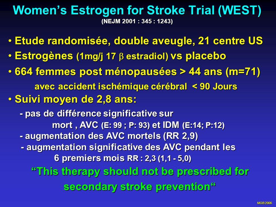 MGB 2006 Womens Estrogen for Stroke Trial (WEST) (NEJM 2001 : 345 : 1243) Etude randomisée, double aveugle, 21 centre US Etude randomisée, double aveu