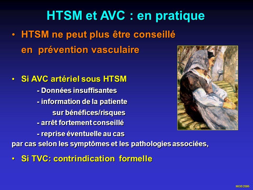 MGB 2006 HTSM et AVC : en pratique HTSM ne peut plus être conseillé HTSM ne peut plus être conseillé en prévention vasculaire Si AVC artériel sous HTS