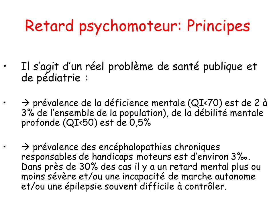 Retard psychomoteur: Principes Il sagit dun réel problème de santé publique et de pédiatrie : prévalence de la déficience mentale (QI<70) est de 2 à 3
