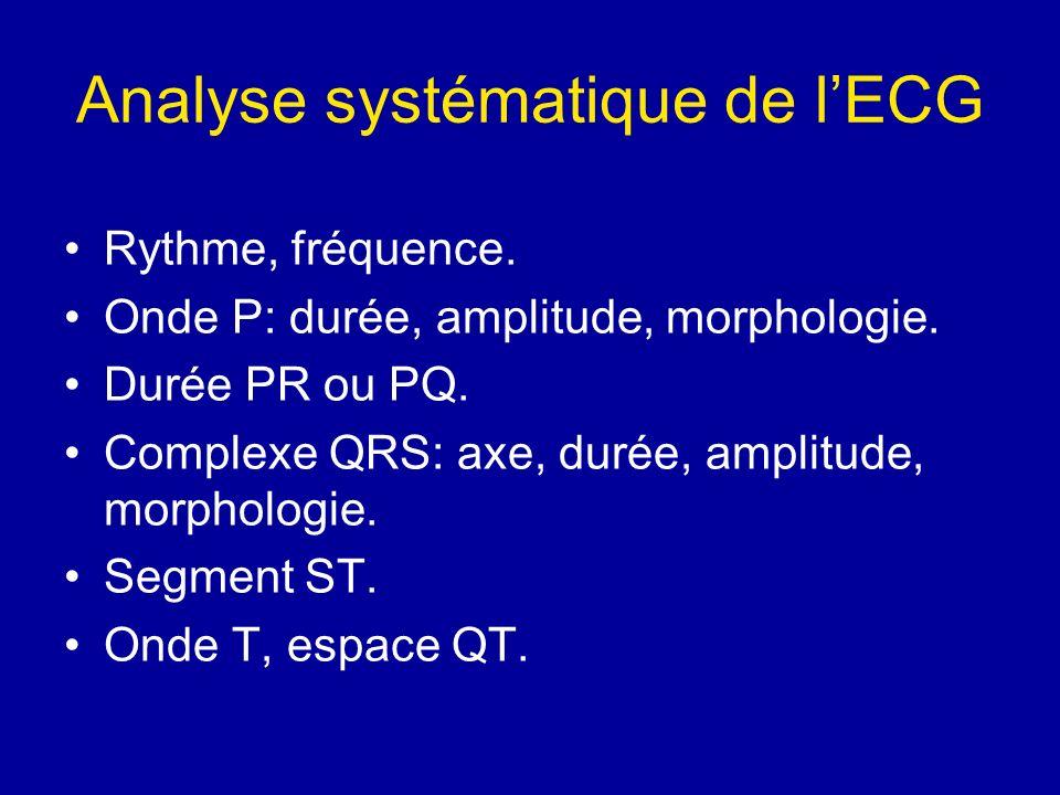 Analyse systématique de lECG Rythme, fréquence. Onde P: durée, amplitude, morphologie. Durée PR ou PQ. Complexe QRS: axe, durée, amplitude, morphologi