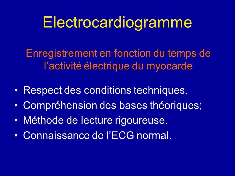 Electrocardiogramme Respect des conditions techniques. Compréhension des bases théoriques; Méthode de lecture rigoureuse. Connaissance de lECG normal.