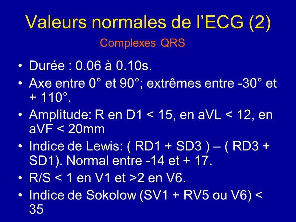 Valeurs normales de lECG (2) Durée : 0.06 à 0.10s. Axe entre 0° et 90°; extrêmes entre -30° et + 110°. Amplitude: R en D1 < 15, en aVL < 12, en aVF <