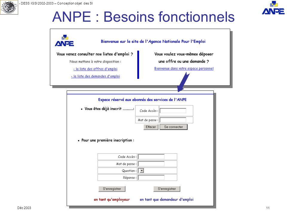 - DESS IGSI 2002-2003 – Conception objet des SI Déc 200311 ANPE : Besoins fonctionnels