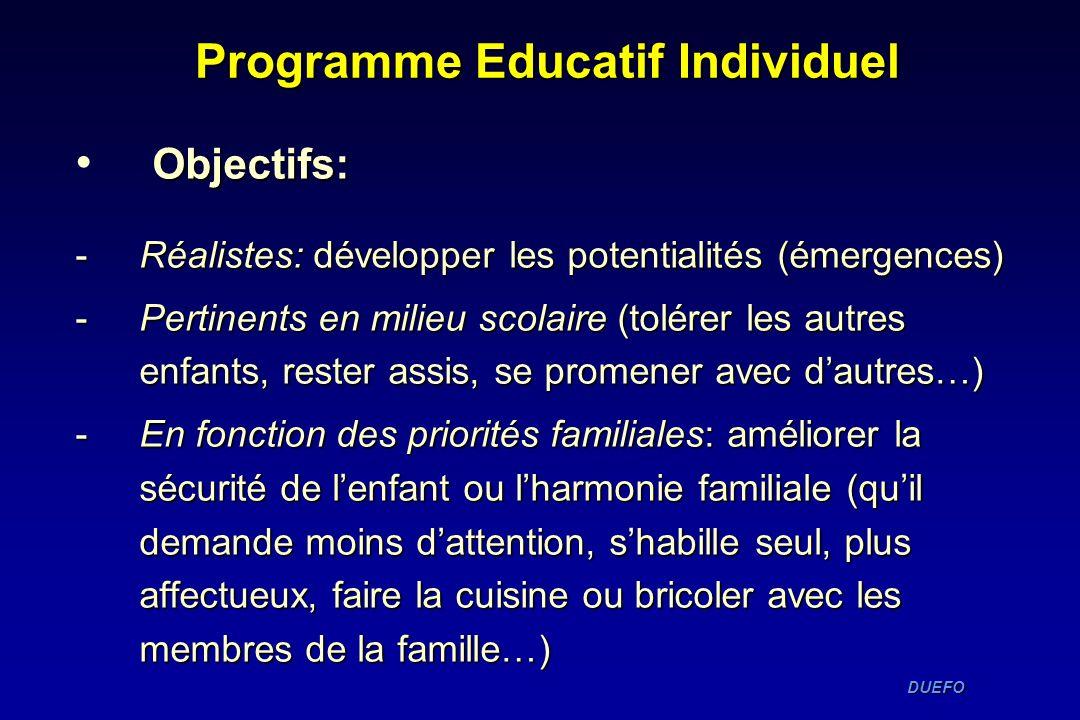 DUEFO DUEFO Programme Educatif Individuel Objectifs: -Réalistes: développer les potentialités (émergences) -Pertinents en milieu scolaire (tolérer les