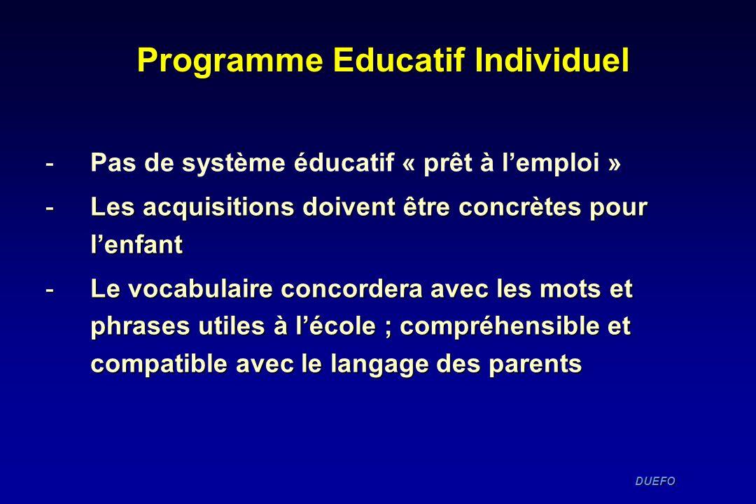 DUEFO DUEFO Programme Educatif Individuel -Pas de système éducatif « prêt à lemploi » -Les acquisitions doivent être concrètes pour lenfant -Le vocabu