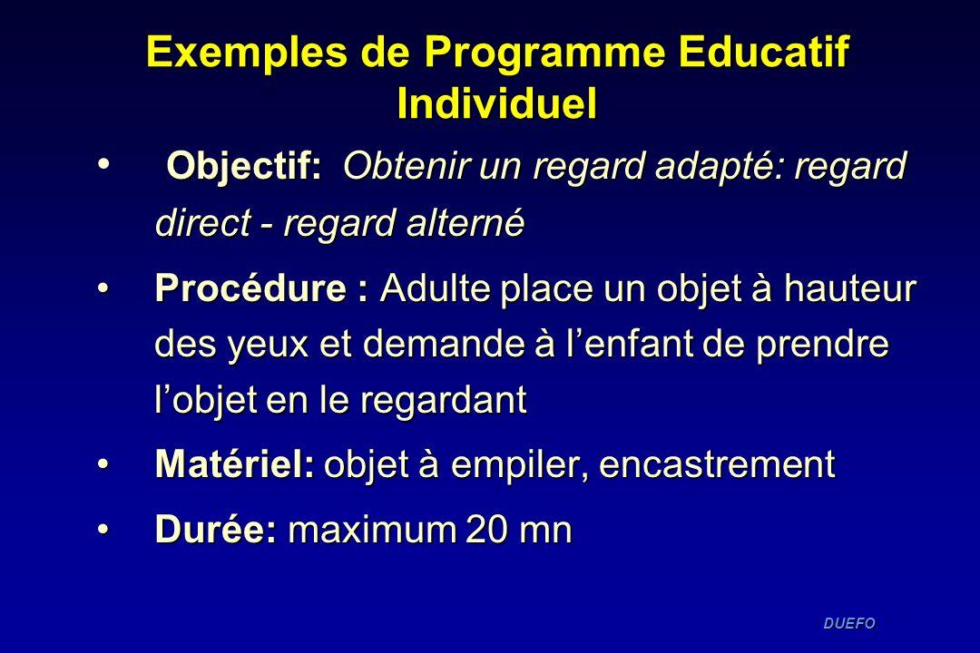 DUEFO DUEFO Exemples de Programme Educatif Individuel Objectif: Obtenir un regard adapté: regard direct - regard alterné Procédure : Adulte place un o