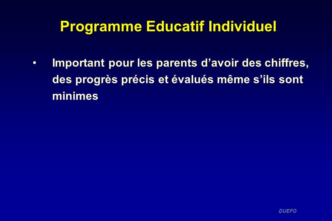 DUEFO DUEFO Programme Educatif Individuel Important pour les parents davoir des chiffres, des progrès précis et évalués même sils sont minimes
