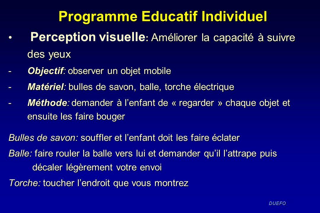 DUEFO DUEFO Programme Educatif Individuel : Améliorer la capacité à suivre des yeux Perception visuelle : Améliorer la capacité à suivre des yeux -Obj