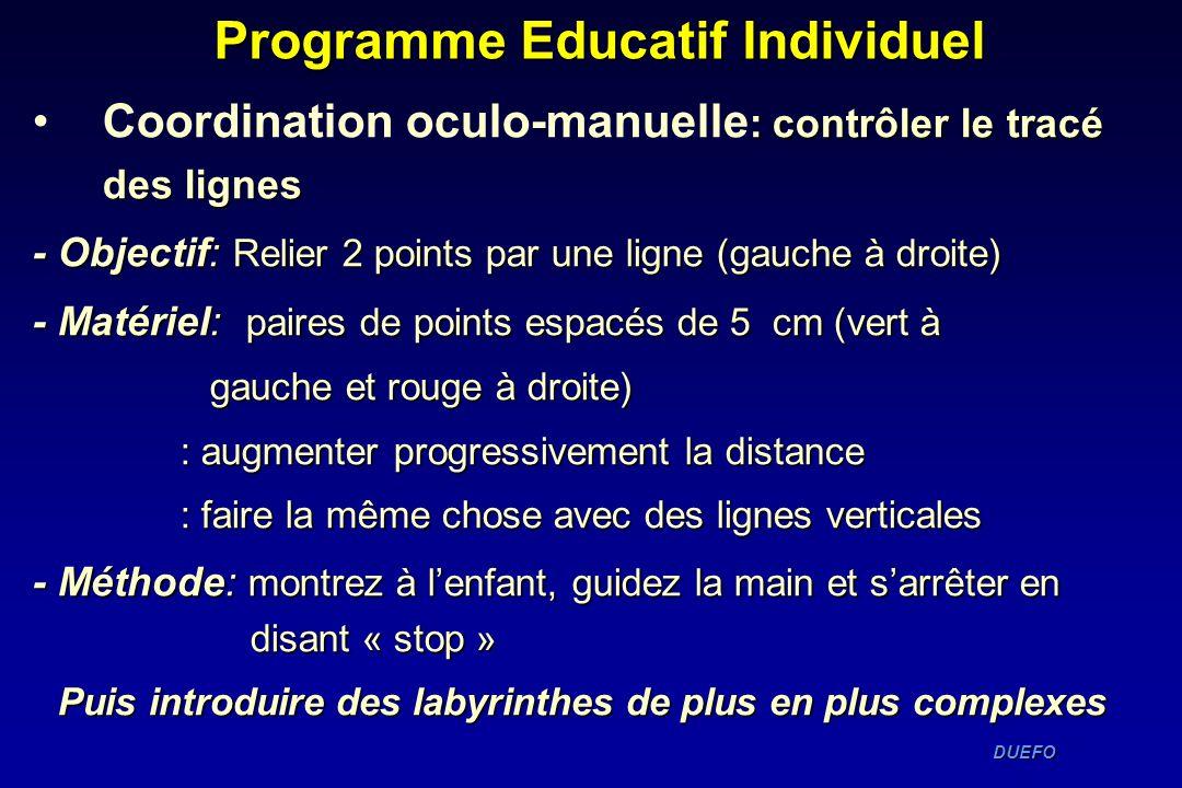 DUEFO DUEFO Programme Educatif Individuel : contrôler le tracé des lignesCoordination oculo-manuelle : contrôler le tracé des lignes - Objectif: Relie