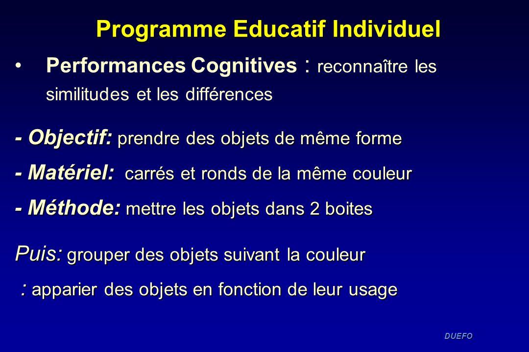 DUEFO DUEFO Programme Educatif Individuel Performances Cognitives : reconnaître les similitudes et les différences - Objectif: prendre des objets de m