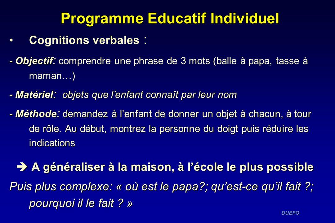 DUEFO DUEFO Programme Educatif Individuel Cognitions verbales : - Objectif : - Objectif : comprendre une phrase de 3 mots (balle à papa, tasse à maman