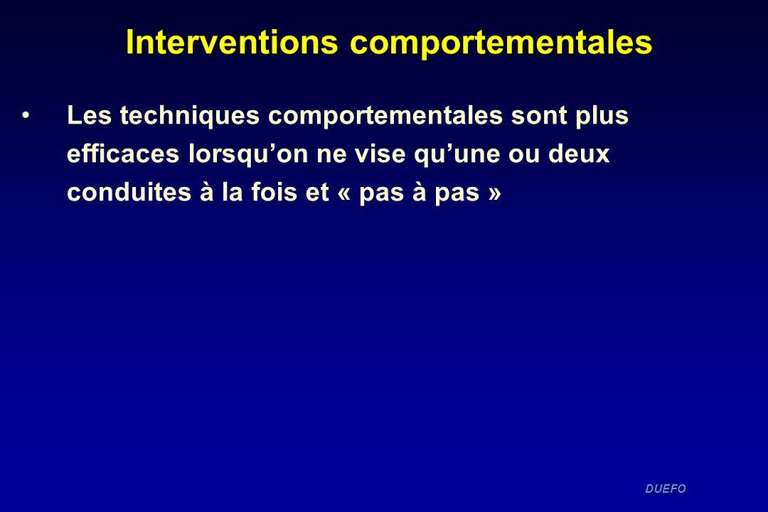 DUEFO DUEFO Interventions comportementales Les techniques comportementales sont plus efficaces lorsquon ne vise quune ou deux conduites à la fois et «