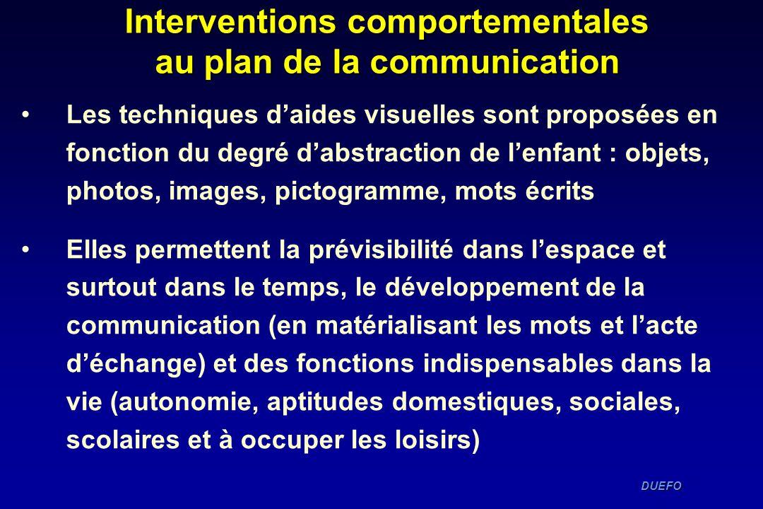 DUEFO DUEFO Interventions comportementales au plan de la communication Les techniques daides visuelles sont proposées en fonction du degré dabstractio
