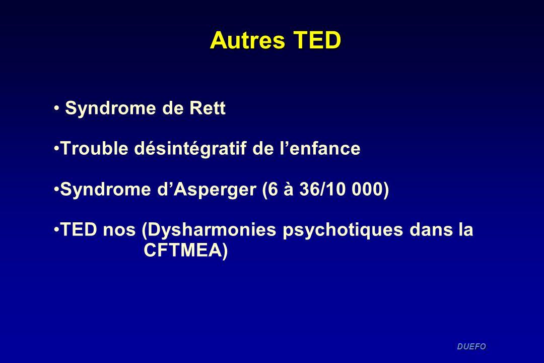 DUEFO DUEFO Autres TED Syndrome de Rett Trouble désintégratif de lenfance Syndrome dAsperger (6 à 36/10 000) TED nos (Dysharmonies psychotiques dans l