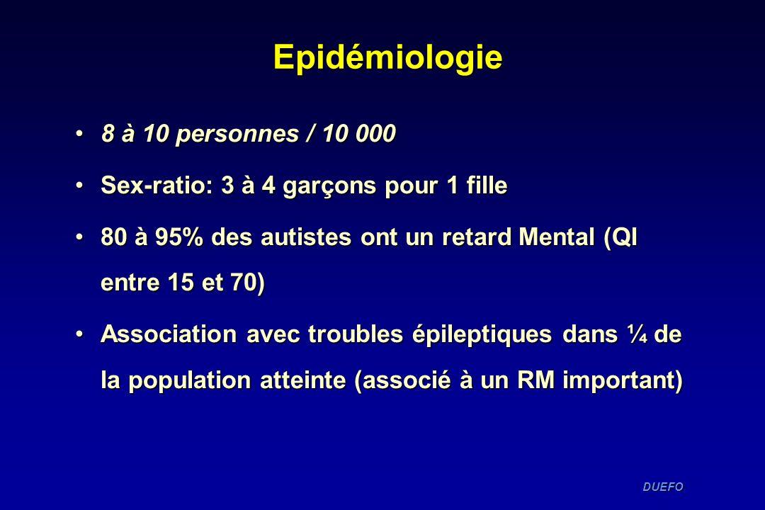 DUEFO DUEFO Epidémiologie 8 à 10 personnes / 10 0008 à 10 personnes / 10 000 Sex-ratio: 3 à 4 garçons pour 1 filleSex-ratio: 3 à 4 garçons pour 1 fill