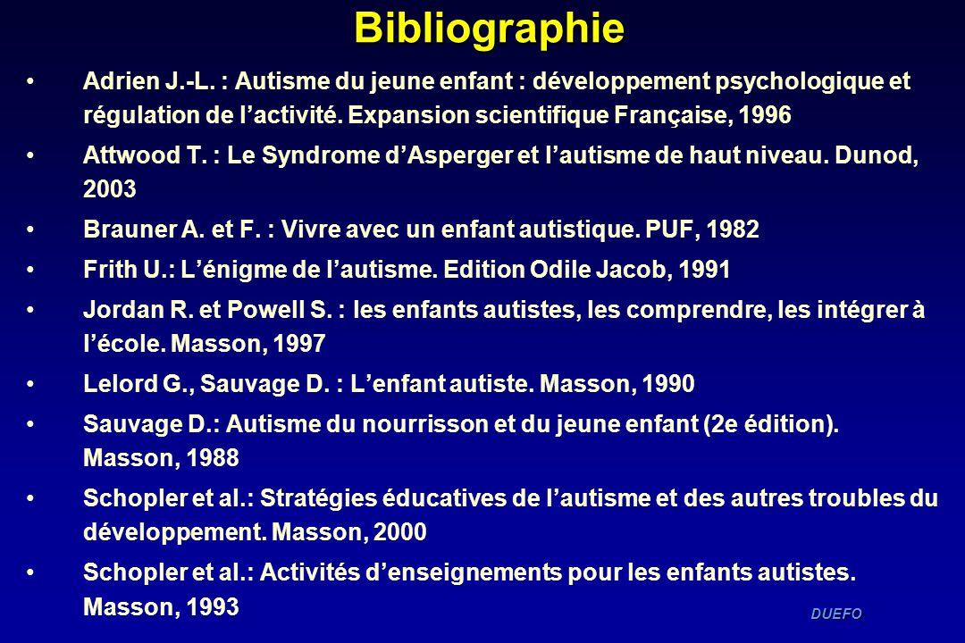 DUEFO DUEFOBibliographie Adrien J.-L. : Autisme du jeune enfant : développement psychologique et régulation de lactivité. Expansion scientifique Franç