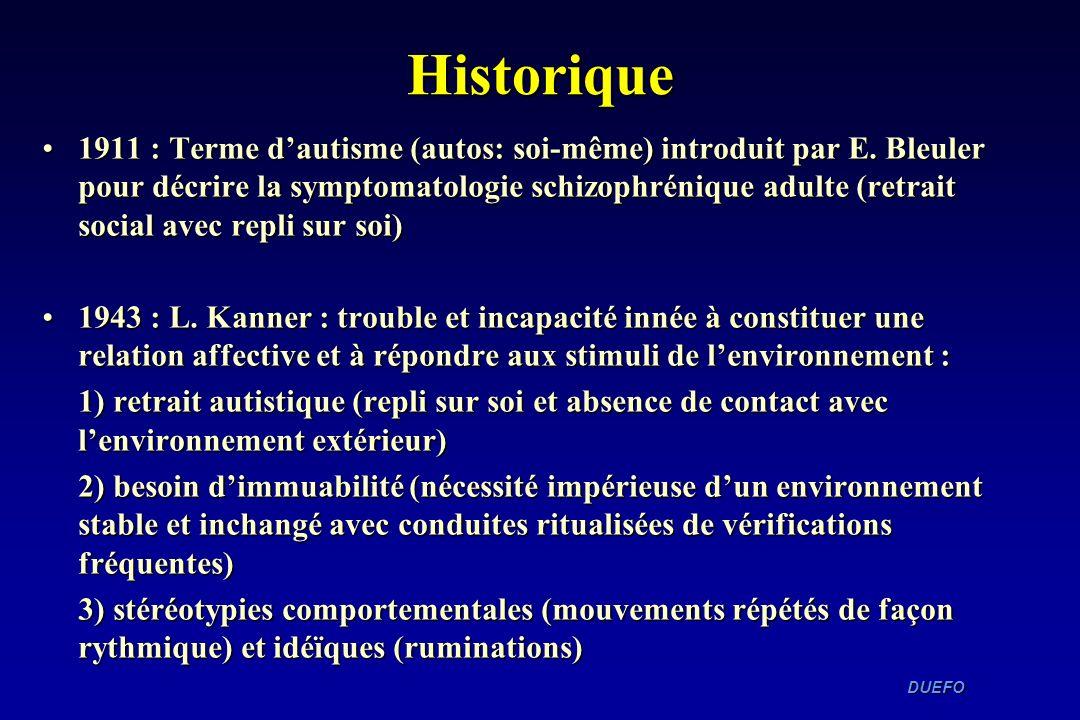 DUEFO DUEFO Historique 1911 : Terme dautisme (autos: soi-même) introduit par E. Bleuler pour décrire la symptomatologie schizophrénique adulte (retrai