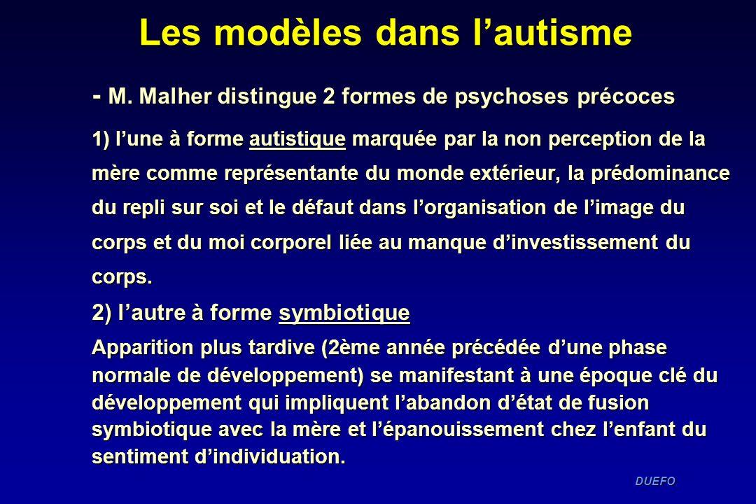 DUEFO DUEFO - M. Malher distingue 2 formes de psychoses précoces 1) lune à forme autistique marquée par la non perception de la mère comme représentan