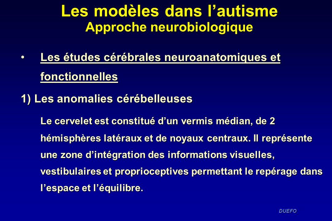 DUEFO DUEFO Les études cérébrales neuroanatomiques et fonctionnellesLes études cérébrales neuroanatomiques et fonctionnelles 1) Les anomalies cérébell