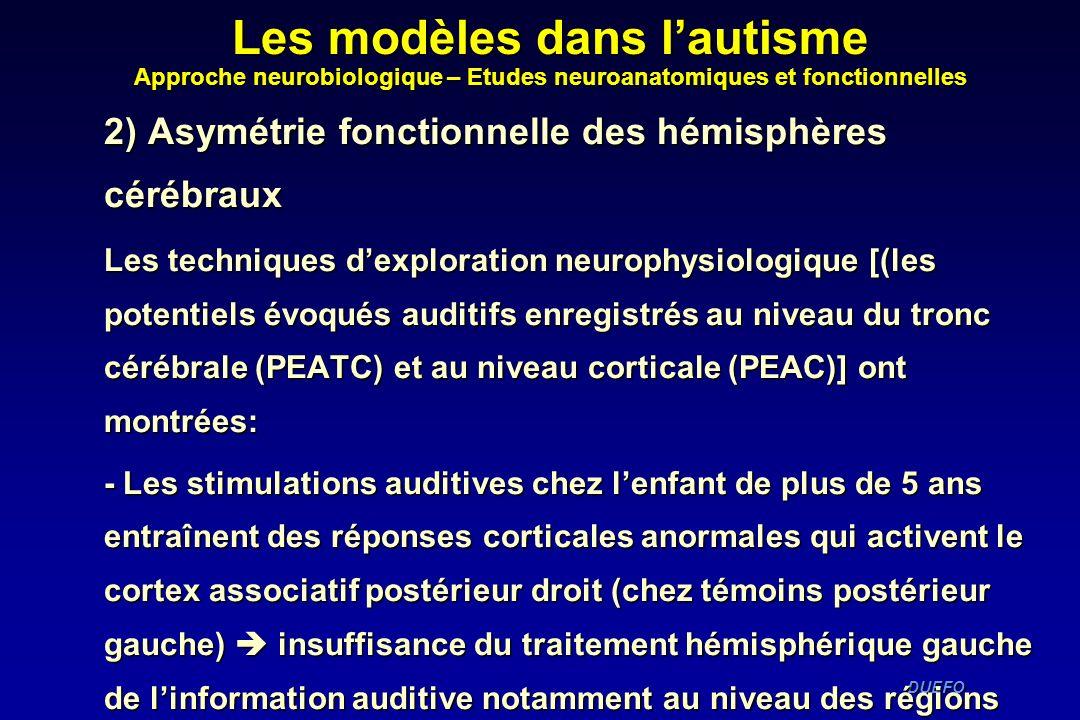 DUEFO DUEFO 2) Asymétrie fonctionnelle des hémisphères cérébraux Les techniques dexploration neurophysiologique [(les potentiels évoqués auditifs enre