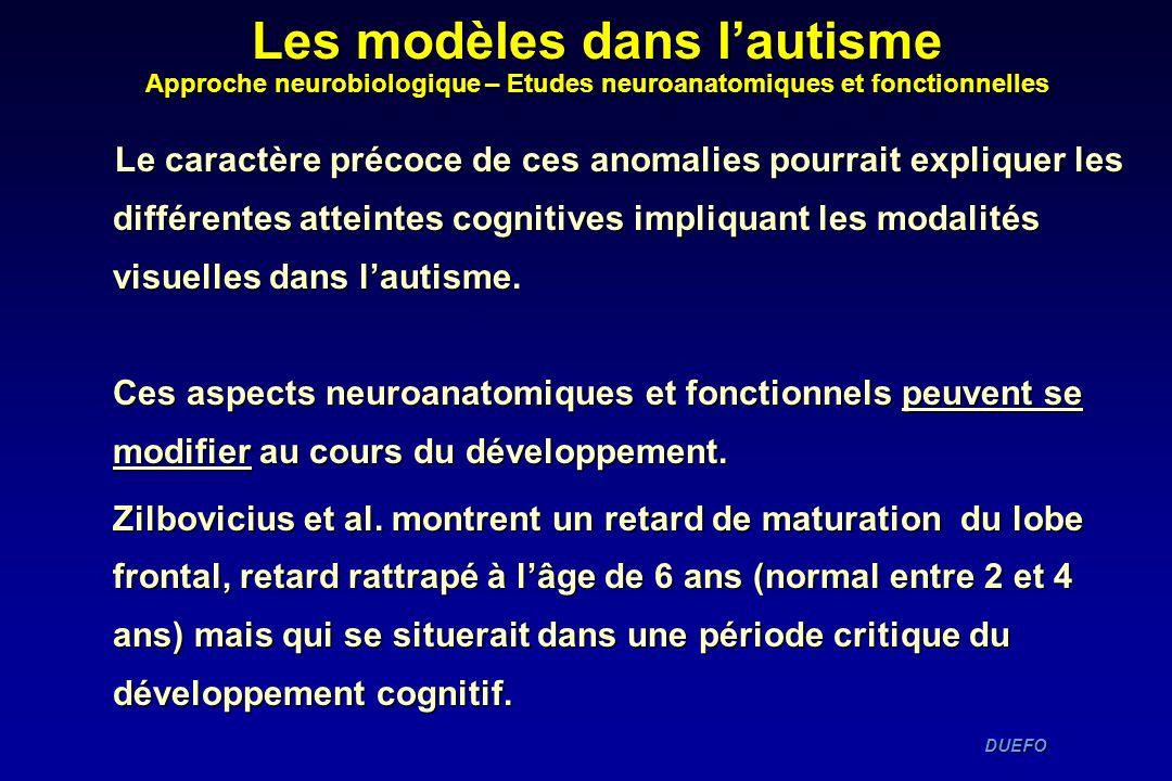 DUEFO DUEFO Le caractère précoce de ces anomalies pourrait expliquer les différentes atteintes cognitives impliquant les modalités visuelles dans laut