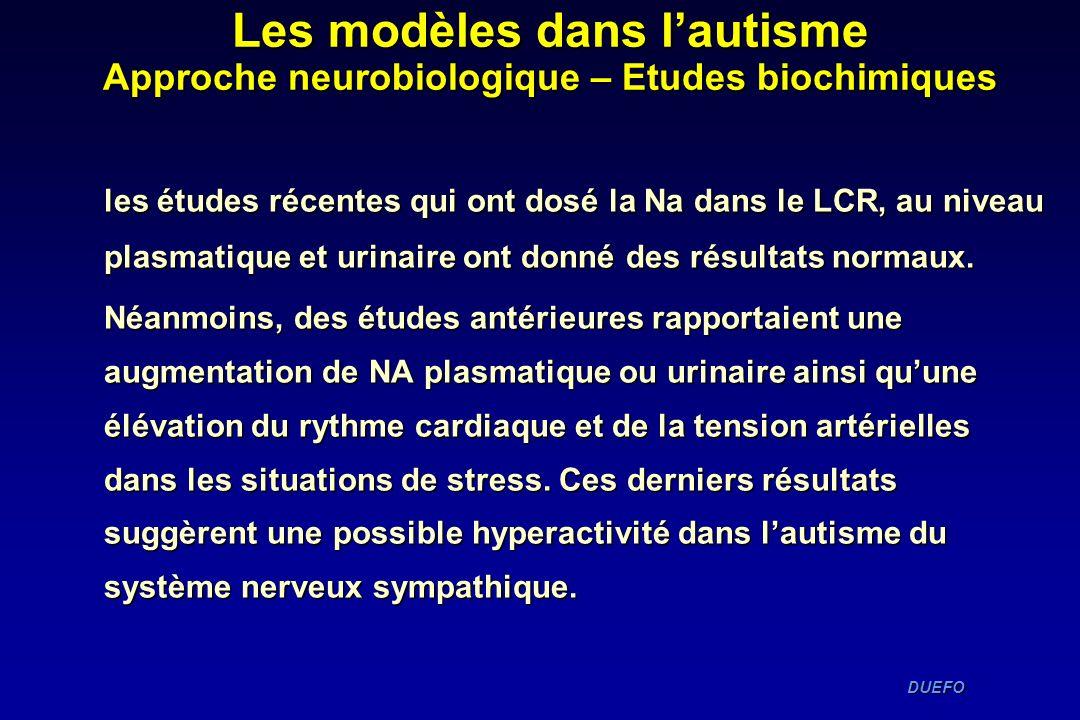 DUEFO DUEFO les études récentes qui ont dosé la Na dans le LCR, au niveau plasmatique et urinaire ont donné des résultats normaux. Néanmoins, des étud