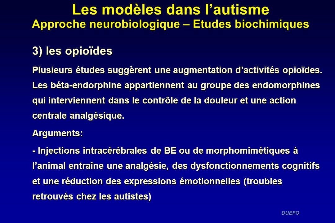 DUEFO DUEFO 3) les opioïdes Plusieurs études suggèrent une augmentation dactivités opioïdes. Les béta-endorphine appartiennent au groupe des endomorph