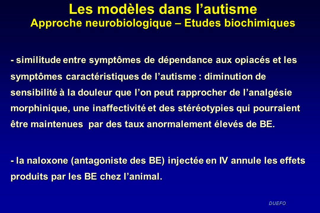 DUEFO DUEFO - similitude entre symptômes de dépendance aux opiacés et les symptômes caractéristiques de lautisme : diminution de sensibilité à la doul
