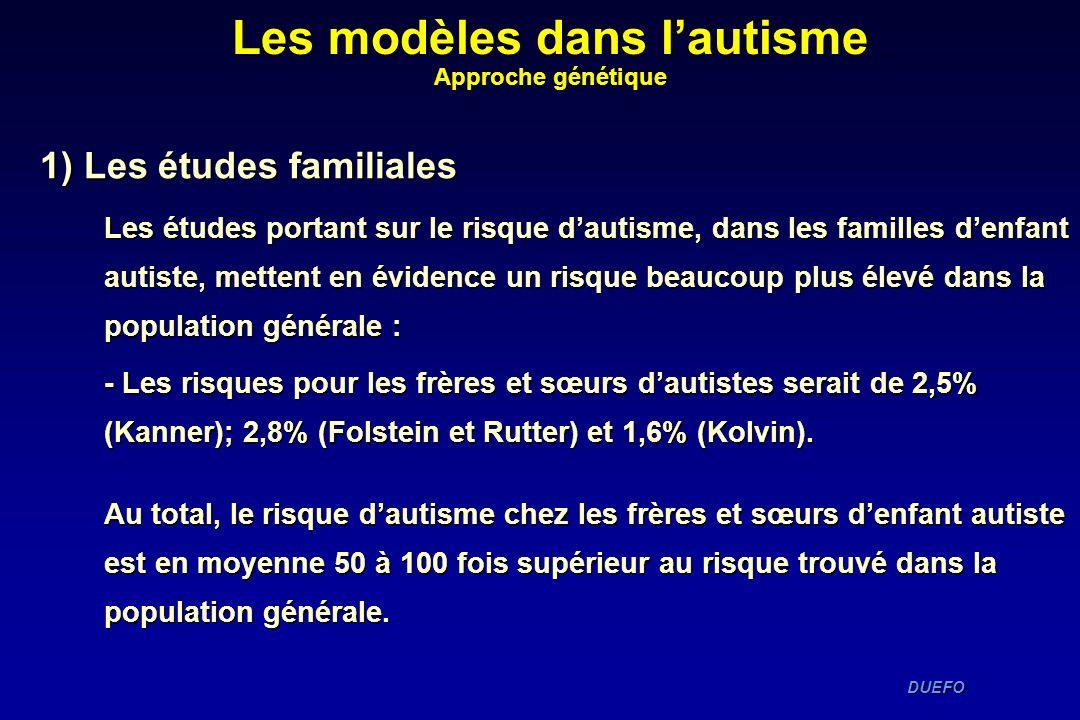 DUEFO DUEFO 1) Les études familiales Les études portant sur le risque dautisme, dans les familles denfant autiste, mettent en évidence un risque beauc