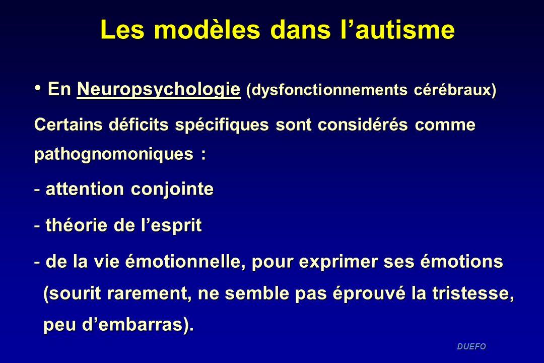 DUEFO DUEFO En Neuropsychologie (dysfonctionnements cérébraux) En Neuropsychologie (dysfonctionnements cérébraux) Certains déficits spécifiques sont c