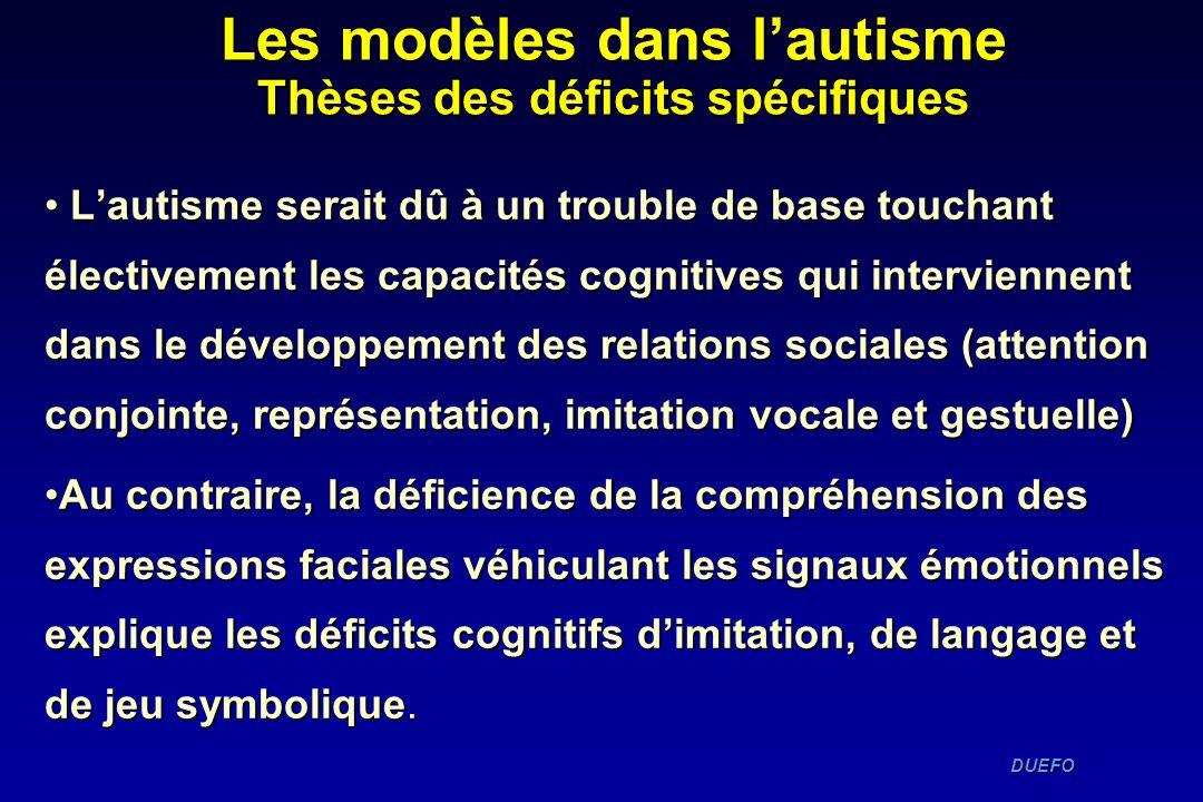 DUEFO DUEFO Lautisme serait dû à un trouble de base touchant électivement les capacités cognitives qui interviennent dans le développement des relatio