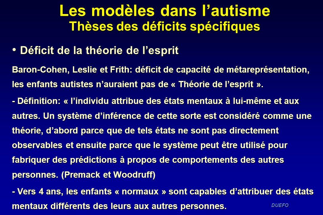 DUEFO DUEFO Déficit de la théorie de lesprit Déficit de la théorie de lesprit Baron-Cohen, Leslie et Frith: déficit de capacité de métareprésentation,