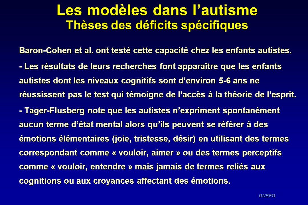 DUEFO DUEFO Baron-Cohen et al. ont testé cette capacité chez les enfants autistes. - Les résultats de leurs recherches font apparaître que les enfants