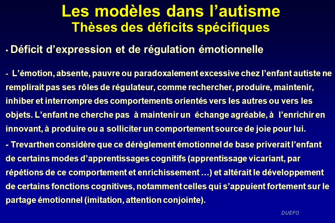 DUEFO DUEFO Déficit dexpression et de régulation émotionnelle Déficit dexpression et de régulation émotionnelle - Lémotion, absente, pauvre ou paradox