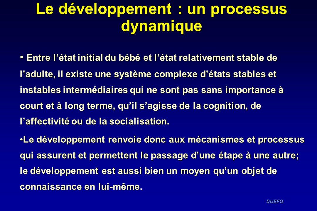 DUEFO DUEFO Entre létat initial du bébé et létat relativement stable de ladulte, il existe une système complexe détats stables et instables intermédia