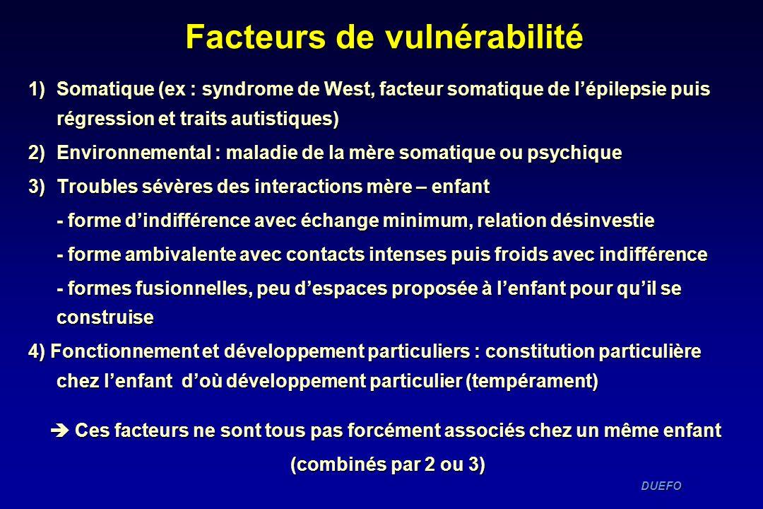 DUEFO DUEFO 1)Somatique (ex : syndrome de West, facteur somatique de lépilepsie puis régression et traits autistiques) 2)Environnemental : maladie de