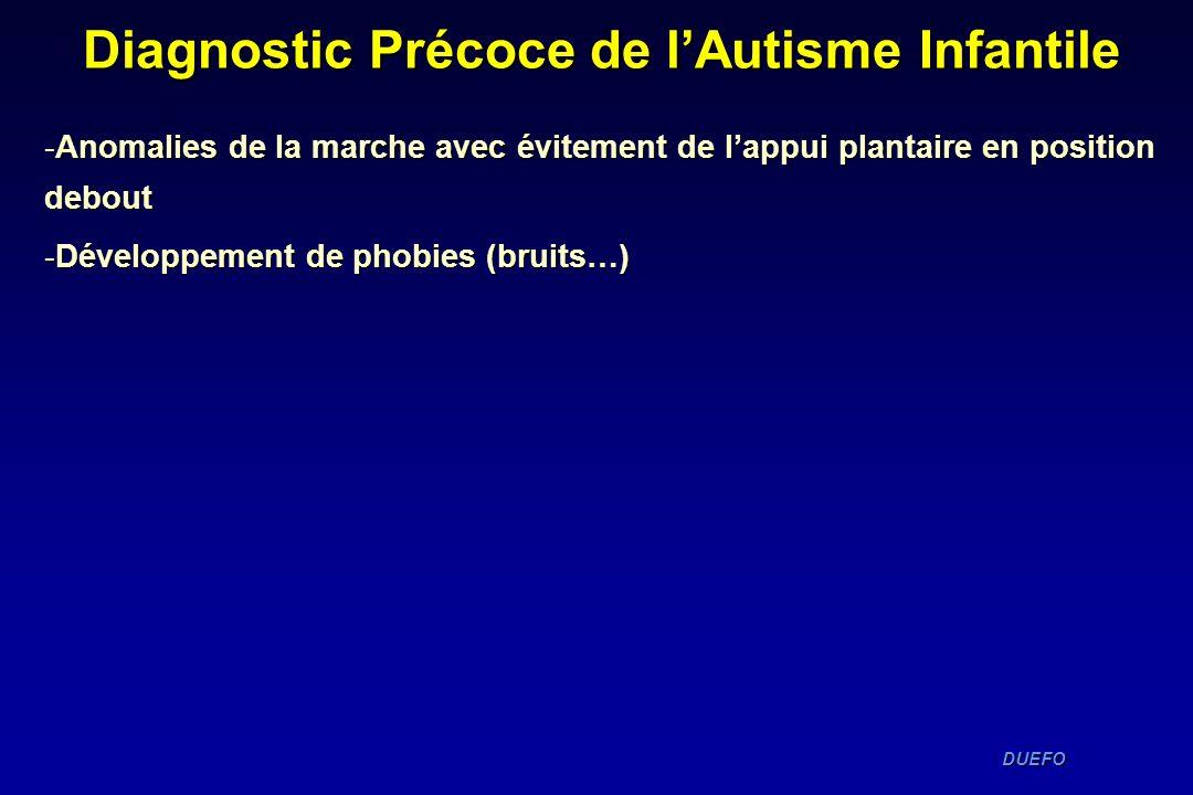 DUEFO DUEFO -Anomalies de la marche avec évitement de lappui plantaire en position debout -Développement de phobies (bruits…) Diagnostic Précoce de lA