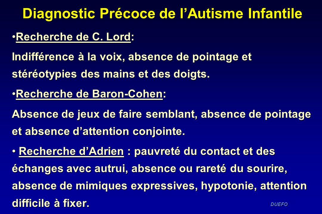DUEFO DUEFO Recherche de C. Lord:Recherche de C. Lord: Indifférence à la voix, absence de pointage et stéréotypies des mains et des doigts. Recherche