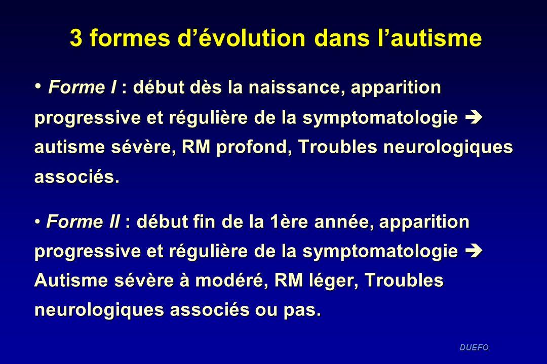 DUEFO DUEFO Forme I : début dès la naissance, apparition progressive et régulière de la symptomatologie autisme sévère, RM profond, Troubles neurologi