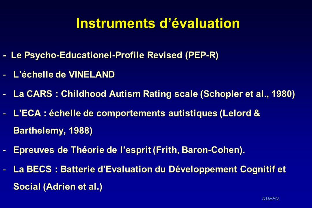 Instruments dévaluation - Le Psycho-Educationel-Profile Revised (PEP-R) -Léchelle de VINELAND -La CARS : Childhood Autism Rating scale (Schopler et al