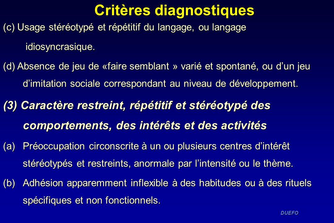 DUEFO DUEFO Critères diagnostiques (c) Usage stéréotypé et répétitif du langage, ou langage idiosyncrasique. idiosyncrasique. (d) Absence de jeu de «f