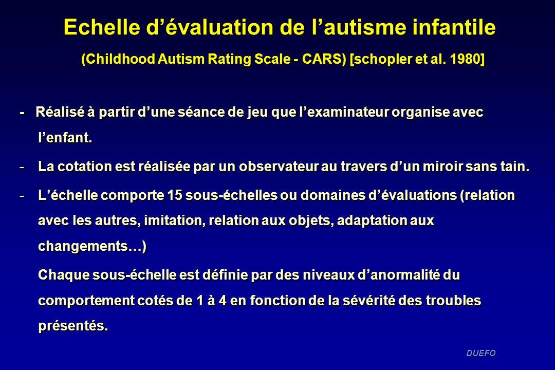 DUEFO DUEFO Echelle dévaluation de lautisme infantile (Childhood Autism Rating Scale - CARS) [schopler et al. 1980] - Réalisé à partir dune séance de