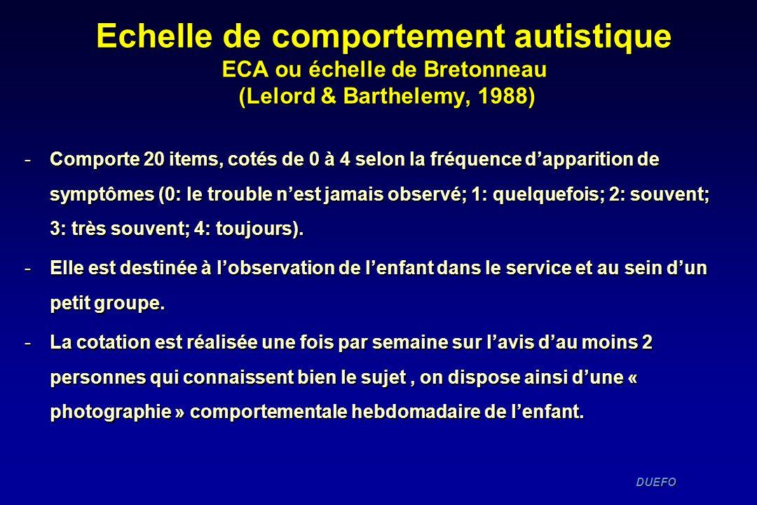 DUEFO DUEFO Echelle de comportement autistique ECA ou échelle de Bretonneau (Lelord & Barthelemy, 1988) -Comporte 20 items, cotés de 0 à 4 selon la fr