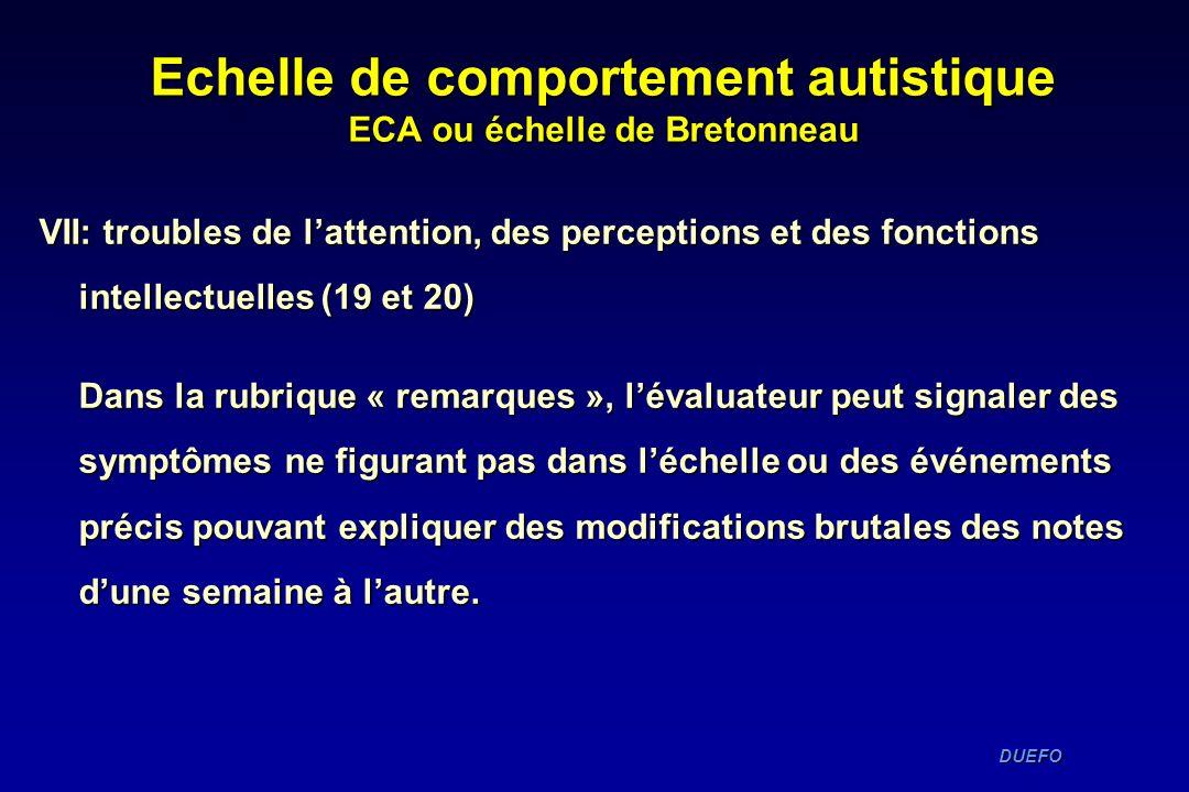 DUEFO DUEFO Echelle de comportement autistique ECA ou échelle de Bretonneau VII: troubles de lattention, des perceptions et des fonctions intellectuel