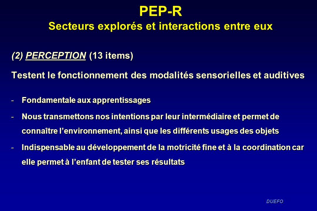 DUEFO DUEFO PEP-R Secteurs explorés et interactions entre eux (2) PERCEPTION (13 items) Testent le fonctionnement des modalités sensorielles et auditi