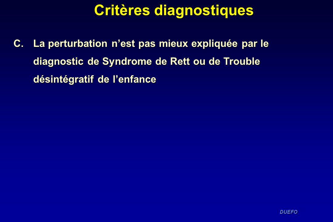 DUEFO DUEFO Critères diagnostiques C. La perturbation nest pas mieux expliquée par le diagnostic de Syndrome de Rett ou de Trouble désintégratif de le