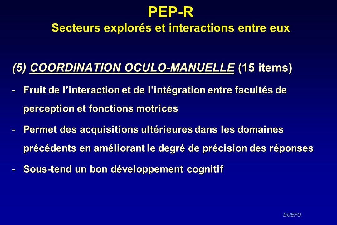 DUEFO DUEFO PEP-R Secteurs explorés et interactions entre eux (5) COORDINATION OCULO-MANUELLE (15 items) -Fruit de linteraction et de lintégration ent