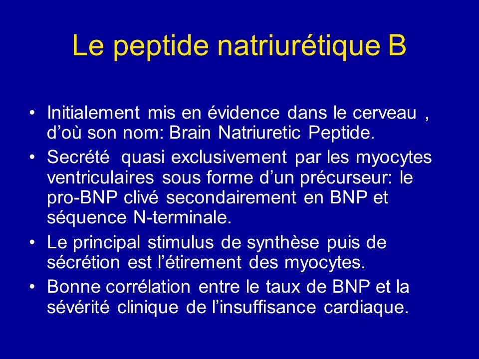 Le peptide natriurétique B Initialement mis en évidence dans le cerveau, doù son nom: Brain Natriuretic Peptide. Secrété quasi exclusivement par les m